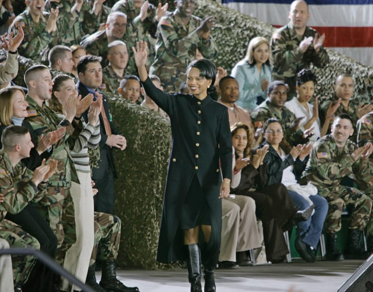 Condoleezza Rice arrives to introduce President Bush to American troops at the Wiesbaden Army Airfield.