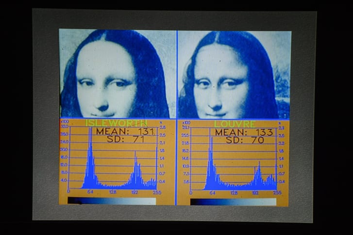"A screen shows scientific tests carried out on the ""Isleworth Mona Lisa"" taken during an event arranged by the Mona Lisa Foundation in 2012."