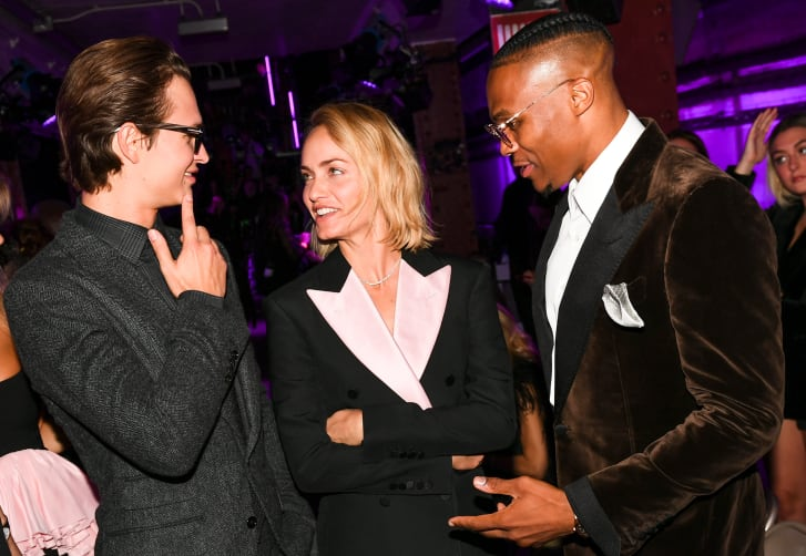 Ansel Elgort, Amber Valletta, Russell Westbrook at Tom Ford Spring-Summer 2020.