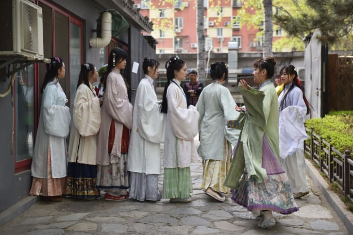 Women rehearsing for a performance at a gathering of Hanfu fans in Beijing.