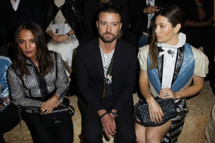 Timberlake and Biel sit front row at Louis Vuitton after the incident.