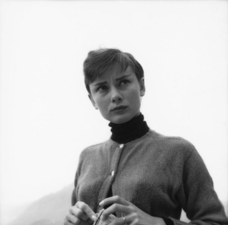 Audrey Hepburn pictured on the terrace of the Restaurant Hammetschwand at the summit of the Bürgenstock, Switzerland.
