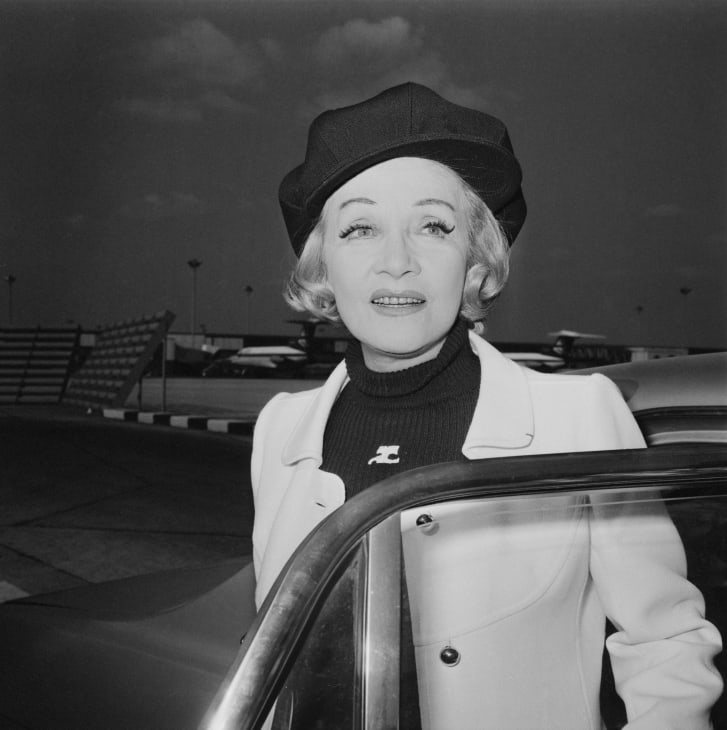 German actress Marlene Dietrich, pictured here in 1971, continued to wear black turtlenecks in later life.