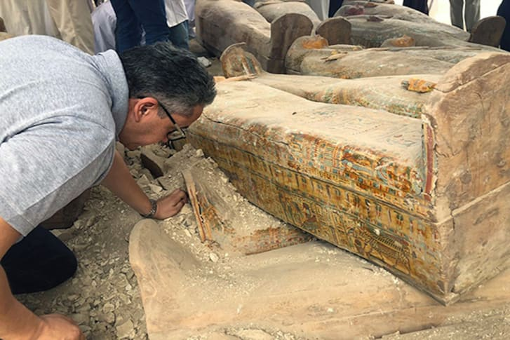 Antiquities minister Khaled El-Anany inspects the discoveries.
