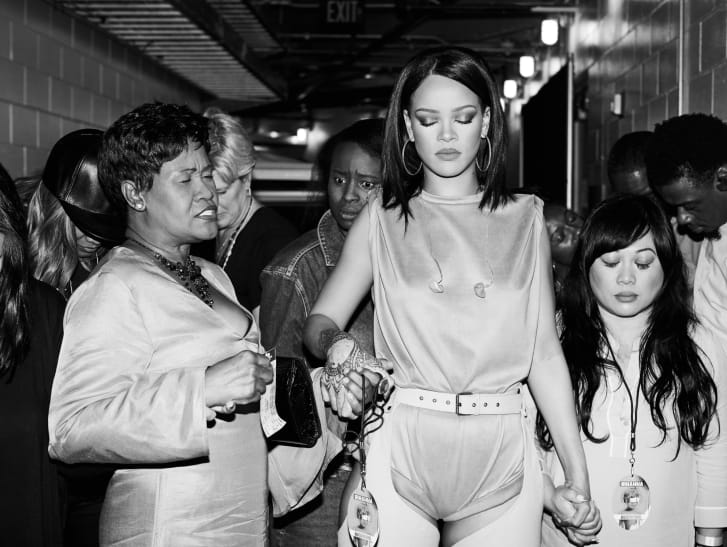 """Backstage at the 2016 Anti World Tour at Miami's American Airlines Arena, with Nadine """"Hi-Hat"""" Ruffin, Monica Fenty, Naphia White and Mylah Morales."""