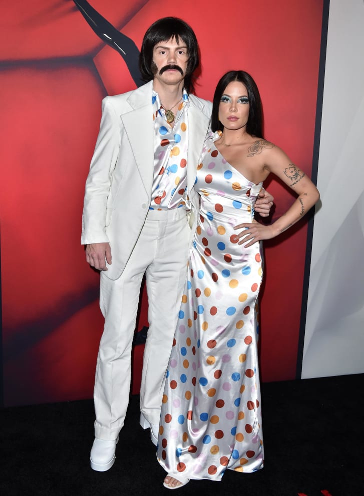 """Evan Peters and Halsey attend FX's """"American Horror Story"""" 100th Episode Celebration at Hollywood Forever on October 26, 2019 in Hollywood, California."""