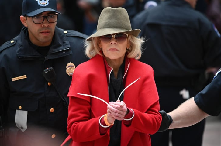 Jane Fonda vowed the red coat she's sported at all of her climate protest would be the last item of clothing she'd ever buy. She's protested climate inaction in Washington since October.