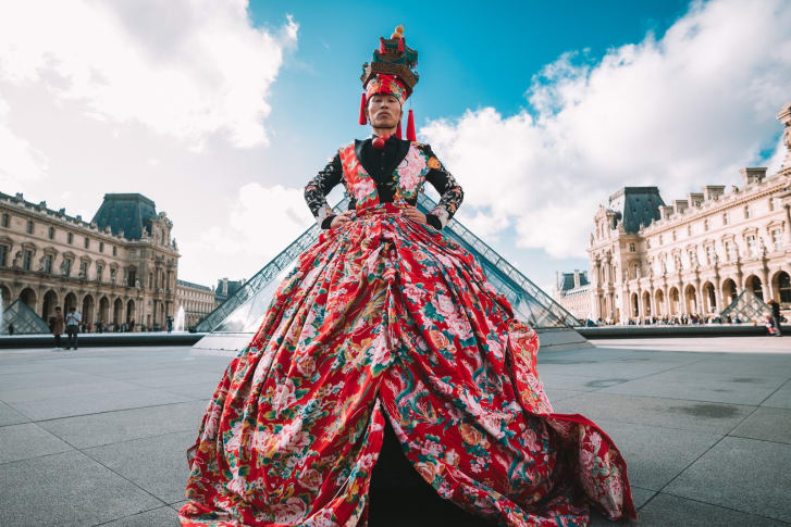 Wan transformed an old quilt cover into a Western-style ballgown.