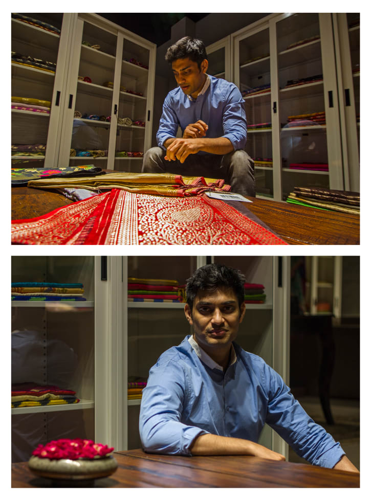 Umang Agrawal, founder and creative director of Holy Weaves, a manufacturer of handwoven textiles and online retailer in Varanasi, India.
