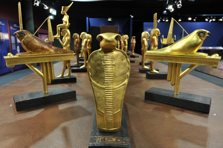 Replicas of treasures found in Tutankhamun's tomb                  on display in Munich, Germany, in 2009.