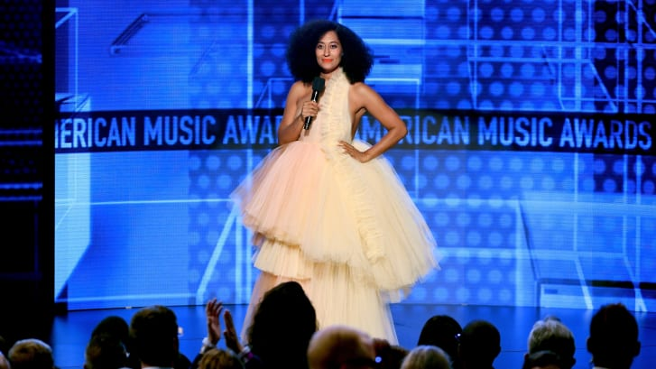 Tracee Ellis Ross speaks onstage during the 2018 American Music Awards at Microsoft Theater in Los Angeles, California.