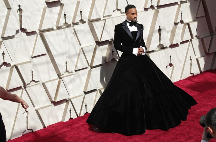 Billy Porter in a tuxedo dress at the Academy Awards in February.