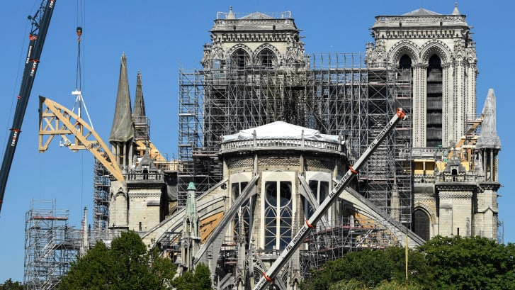 A photo of Notre Dame reconstrcution work taken in July 2019.