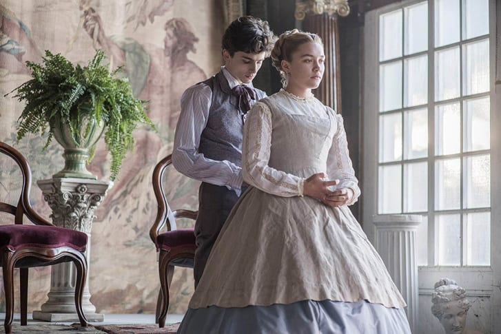 Florence Pugh as Amy March (with Timothée Chalamet).