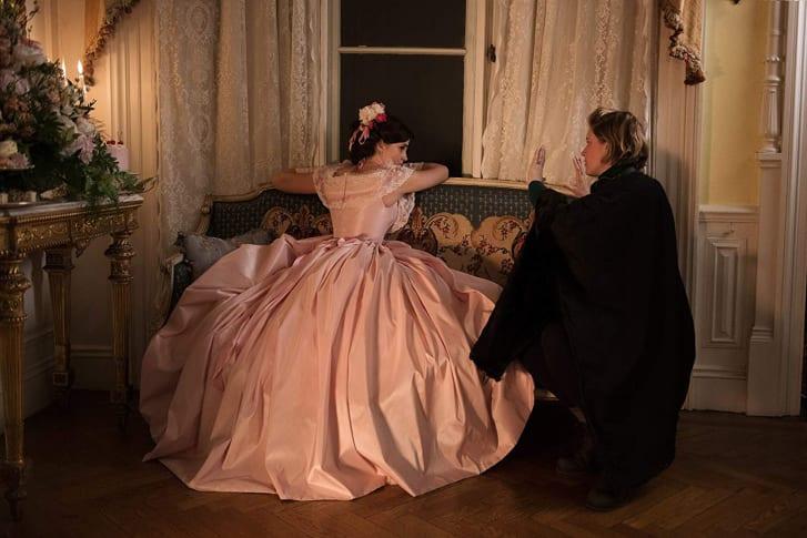 Emma Watson and Greta Gerwig on the set of Little Women