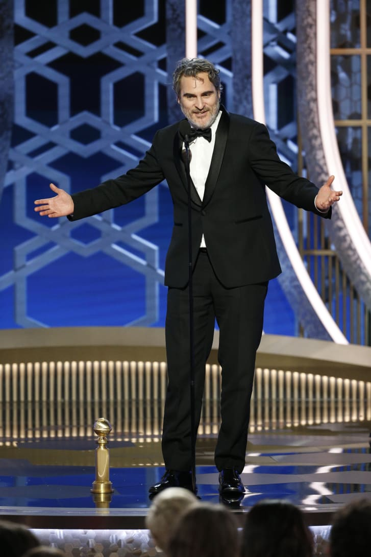 See this tux? You'll be seeing a lot more of it, if you keep up with award shows. Joaquin Phoenix plans to wear it to every ceremony he attends to cut back on textile waste.