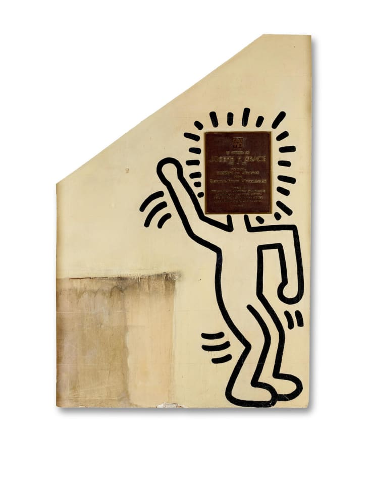"""Untitled (The Church of the Ascension Grace House Mural)"" (ca. 1983--84) by Keith Haring."