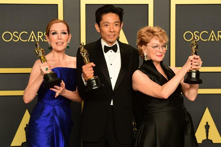 Anne Morgan, Kazu Hiro and Vivian Baker with their Oscars.