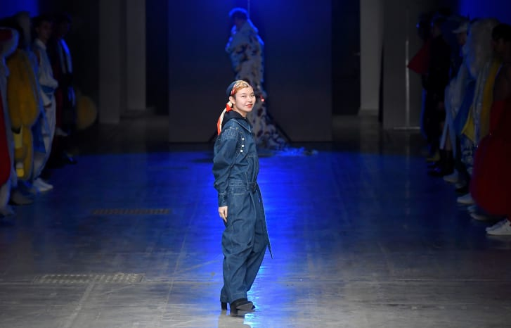 Designer Angel Chen  on the runway of the her show during Milan Fashion Week on February 21, 2018 in Milan, Italy.