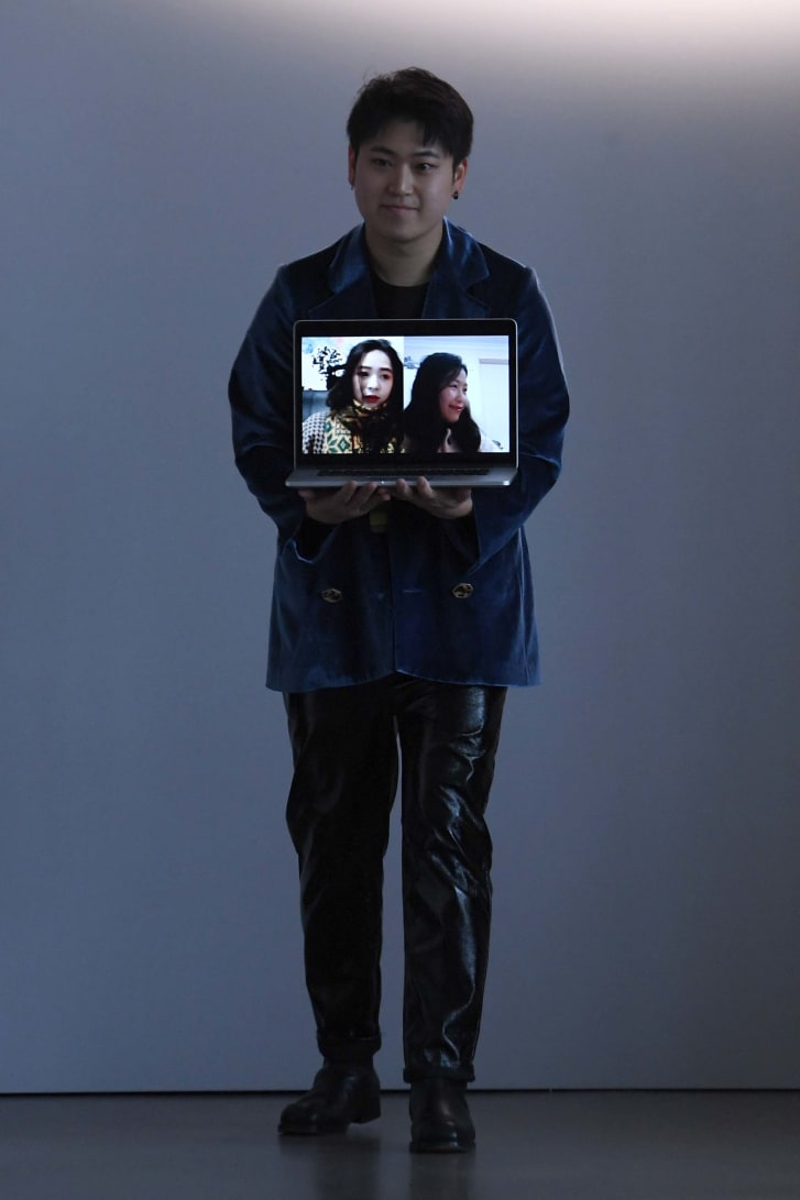 Designers behind Luooif Studio shown via video chat during New York Fashion Week on February 10, 2020 in New York City.