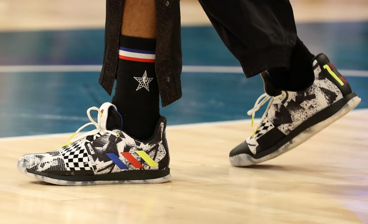 James Harden wore patterned Adidas sneakers at last year's All-Star Game.