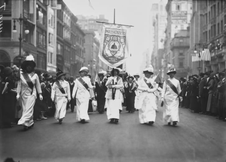 Suffragettes from Massachusetts marching in the streets of New York City (circa 1915)