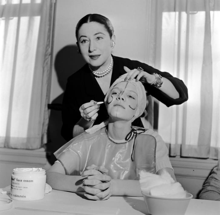 Beauty expert Helena Rubinstein illustrating how make-up can be applied to flatter individual contours (c. 1935)