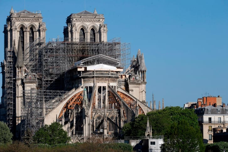 Notre Dame cathedral where work on the rebuild has been on hold since March 16 due to the coronavirus shutdown. (Photo taken April 14 on the eve of the anniversary of the deveastating fire)