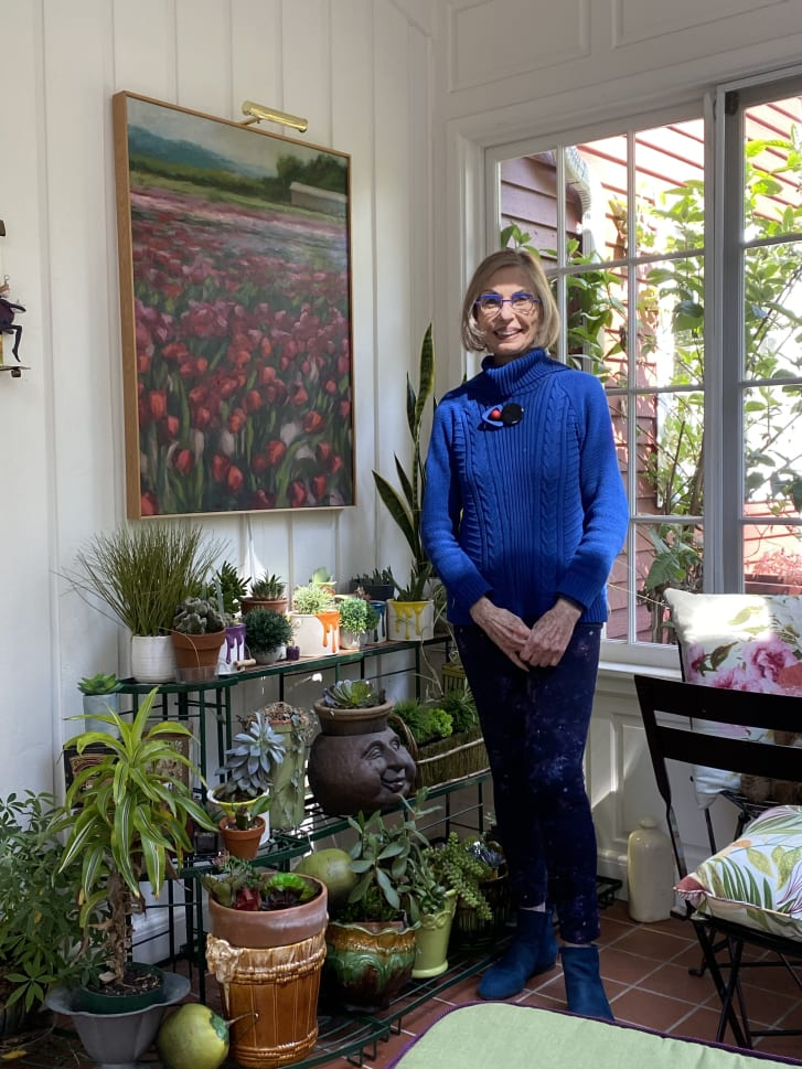 """""""My sun room is my sanctuary,"""" Eiseman said. """"The important colors in the room are green and violet, with a few other floral colors in the mix."""""""