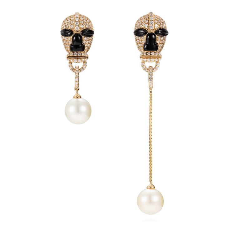 Nomoli Totem masks with Akoya pearl earrings from Satta Matturi