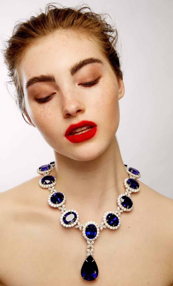 The world's largest tanzanite and diamond necklace containing 600 karats of tanzanite and 100 karats of diamonds