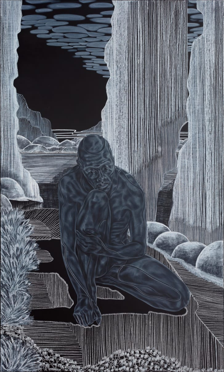 The Barbican show gave Ojih Odutola the opportunity to work on an ambitious scale, mixing large-scale and intimate monochrome works based on an imagined ancient myth.