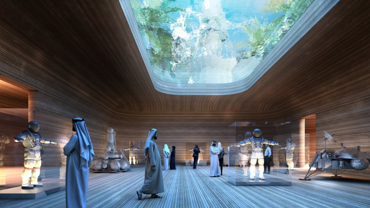 The water-filled skylights also feature in BIG's designs for the Earth-bound  Science City.