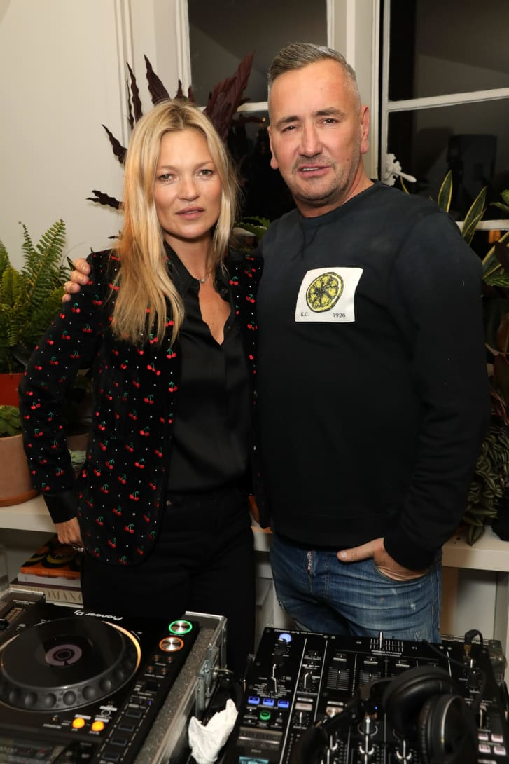 DJ Fat Tony with his friend Kate Moss at a party in London in 2019.