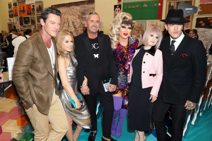 Luke Evans, Kylie Minogue, DJ Fat Tony, Jodie Harsh, Kelly Osbourne and Jimmy Q attend The Royal Academy Of Arts Summer Exhibition preview party in 2019.