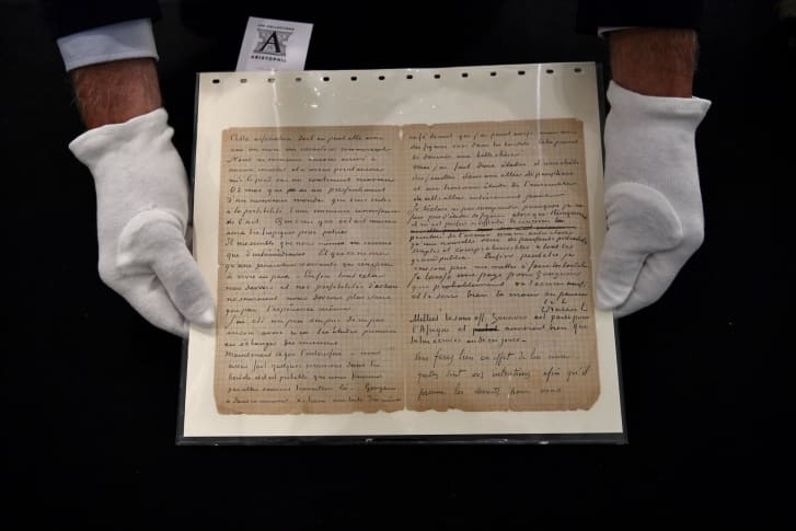 The letter pictured at Drouot auction house in Paris shortly before the sale.