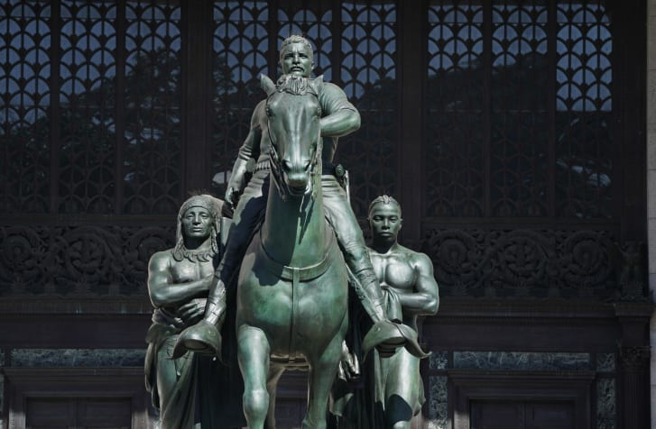 The Theodore Roosevelt Equestrian Statue, which sits in front of the The American Museum of Natural History.