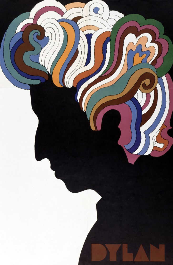 Glaser's fame grew with this poster for a Bob Dylan album in the 1960s.