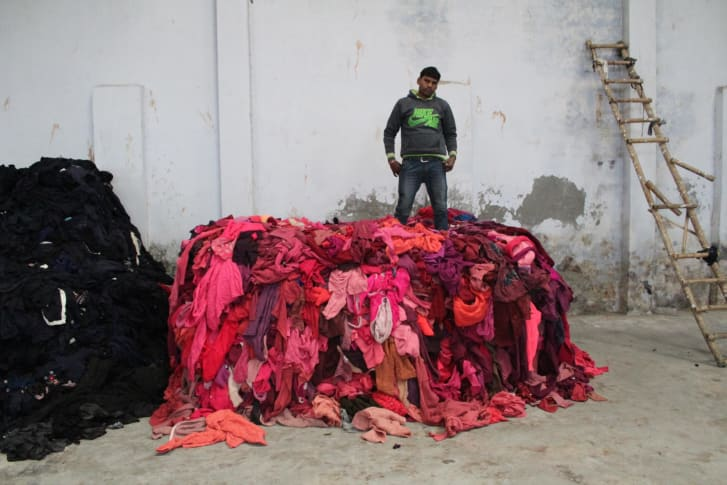 Piles of clothing in Panipat photographed in 'Sweet Lassi'