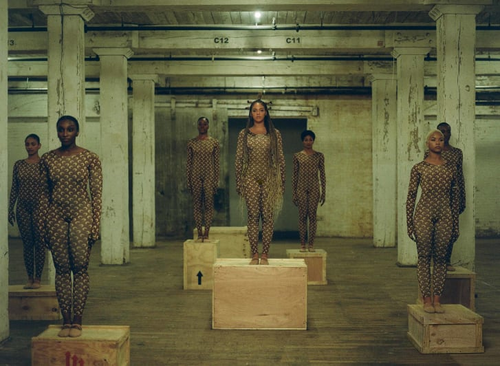 "Beyoncé and her dancers wear Marinne Serre bodysuits for ""Already."""