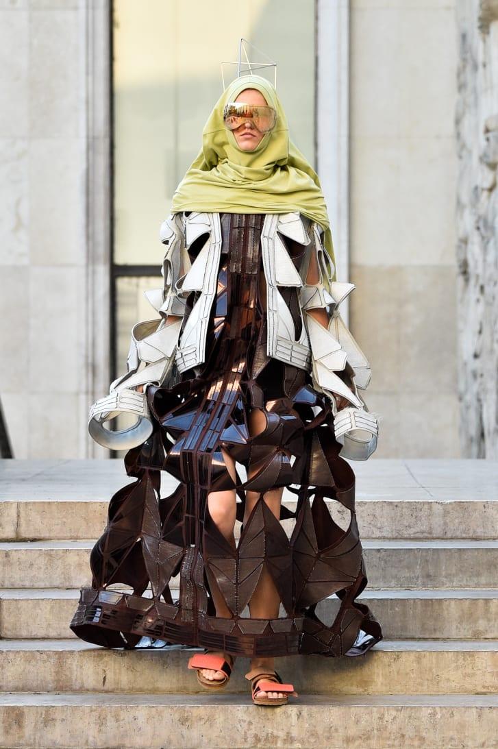 A model in Birkenstocks at the Rick Owens show, Paris Fashion Week  Spring-Summer 2019