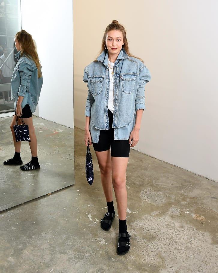 Gigi Hadid in double denim and Birkenstocks