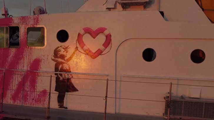 Banksy spray painted the vessel with a fire extinguisher.