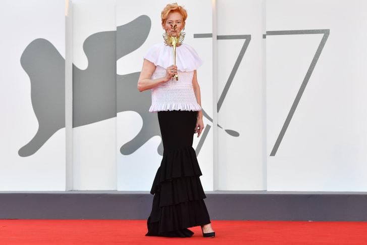 Tilda Swinton attends the opening day of the Venice Film Festival.