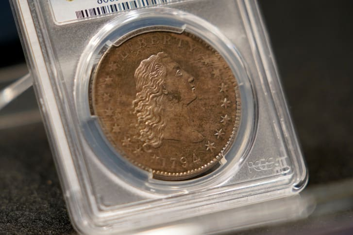 Il raro dollaro d'argento USA del 1794 che è all'asta