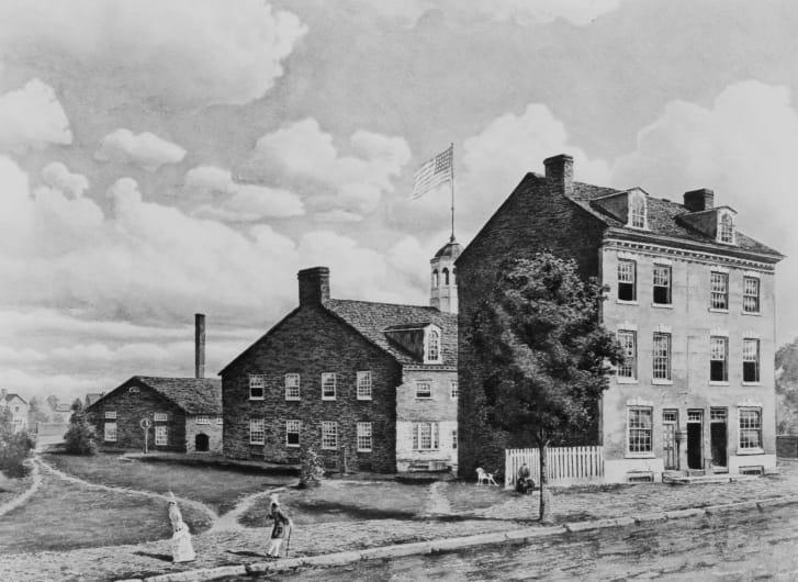 La prima zecca degli Stati Uniti, sulla Seventh Street, Philadelphia, intorno al 1820.