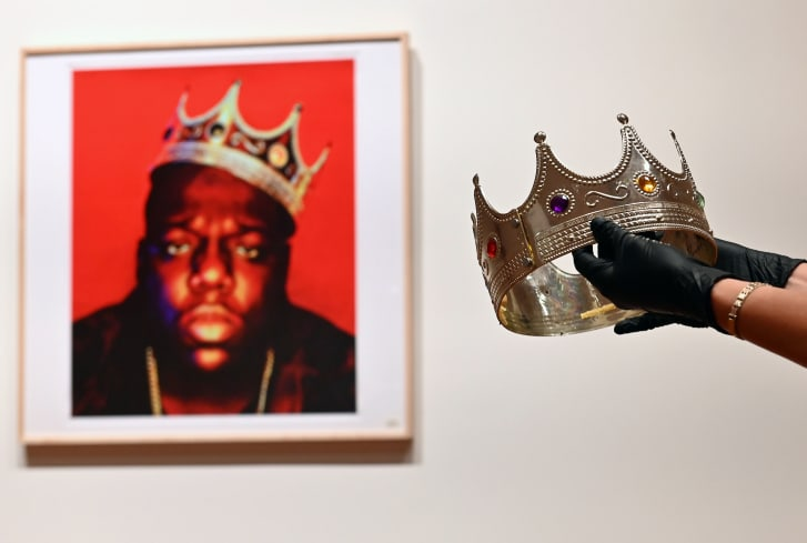 The crown worn by Notorious B.I.G. when photographed as the King of New York, is displayed during a press preview at Sotheby's for their Inaugural HIP HOP Auction on September 10, 2020 in New York City.
