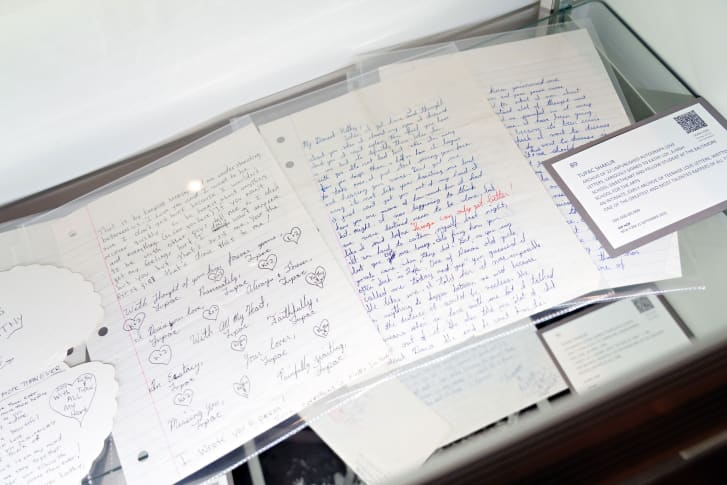 An archive of twenty-two love letters from Tupac Shakur to a high school sweetheart are displayed during a preview at Sotheby's for their Inaugural HIP HOP Auction on September 12, 2020 in New York City.