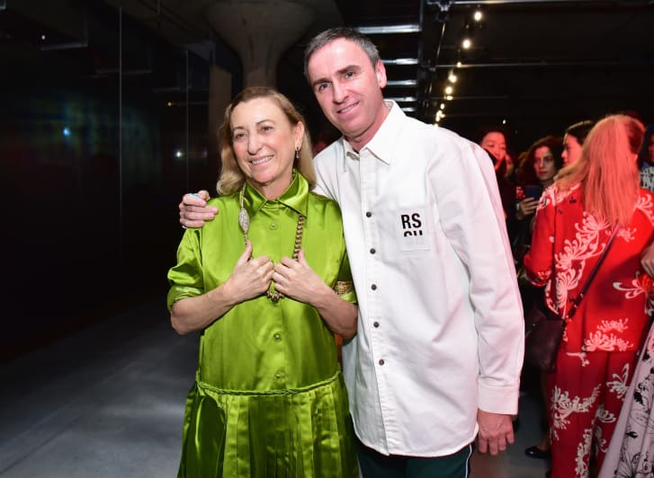 Designer Miuccia Prada and designer Raf Simons attend the Prada Resort 2019 fashion show on May 4, 2018 in New York City.