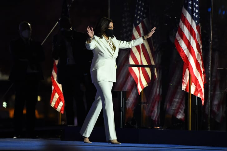 Vice President-elect Kamala Harris arrives to address the nation in Wilmington, Delaware, on Saturday.